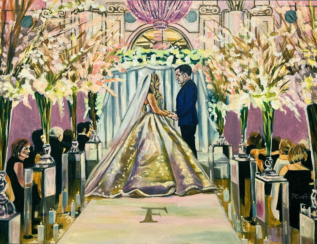 """Live Painting - Wedding Ceremony, 18""""x24"""", 2019"""